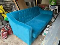Teal/blue suede sofa - Brand New