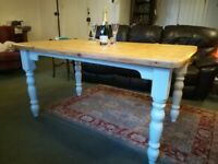 Shabby chic farmhouse table painted in F&B slipper satin