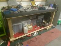 Wooden workbench, motorbike work top bench garage shop