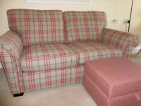 Two seater Alston sofa and storage stool. only 6 months old