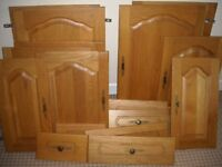 SOLID WOOD LIGHT OAK KITCHEN CUPBOARD DOORS AND DRAW FRONTS