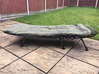 Trakker rlx bedchair and trakker big snooze sleeping bag carp fishing