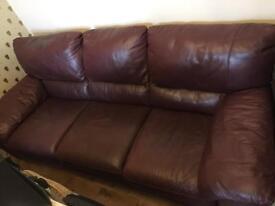Italian leather large 3 seater sofa