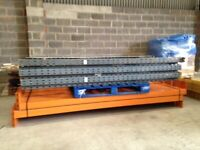5 bay run of dexion pallet racking 2.4m high( storage , industrial shelving )