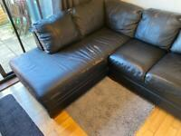 Damaged LHS L-Shaped Black Faux Leather Sofa ***open to reasonable offers***