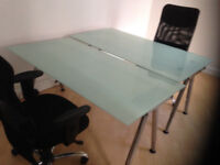 Ikea glass desk table with adjustable legs. Galant glass top adjustable legs