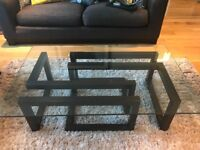 Coffee Table Glass &Wood contemporary style ( Multiyork) good condition