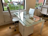 Office table, two chairs, table lamp and storage drawers
