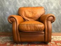 VICTORIAN STYLE VINTAGE CHESTERFIELD TAN REAL LEATHER ARMCHAIR