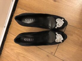 Black satin guess high heels