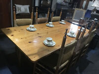 Fab Vintage Large Solid Pine Farmhouse Table & 6 Solid Pine Dining Chairs with Rush Seats Back Rest
