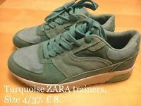 ZARA Turquoise Trainers. Size 4/37.