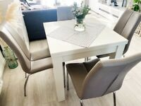 NEXT White gloss 4-6 double extending dining table & 4 dining chairs
