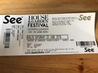 House & Garden Festival Olympia London Tickets x 2