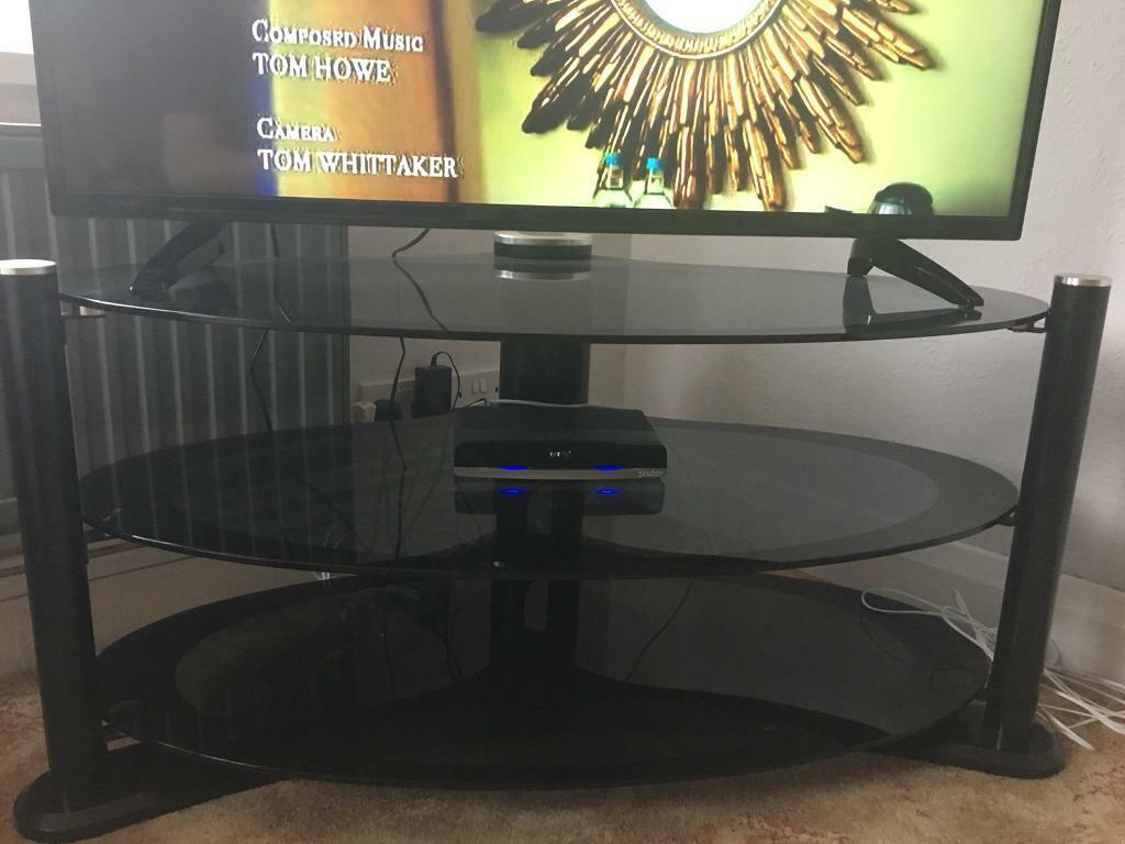 Black and chrome TV stand for sale