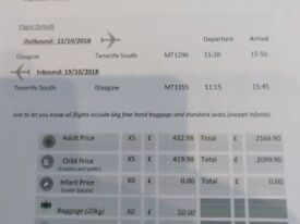 Return flight Glasgow to Tenerife South from 12th - 19th October