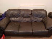 Large 3 Seater and large 2 seater sofa genuine leather collection only Huddersfield