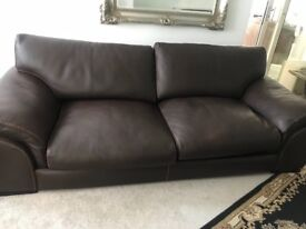 3 seater brown leather sofa like brand new