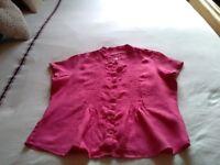 Marks & Spencer hot pink Linen blouse size 16