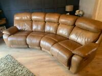 4 seater curved tan leather sofa with reclining chairs