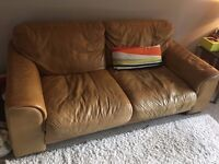 3 and 2 Seater Leather Sofa Tan