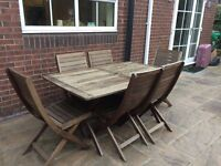 Garden table and 6 chairs Oak