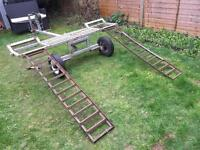 Heavy duty car towing dolly frame with ramps