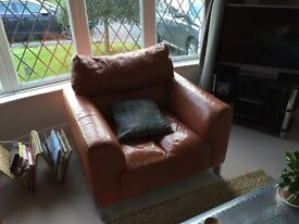 Leather Armchair and Pouffe