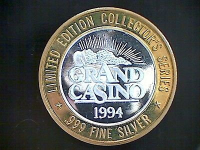 1994 LIMITED ED COLL SERIES GRAND CASINO ROYAL FLUSH 1/2 TR OZ .999 SILVER TOKEN on Rummage