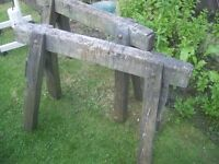 Vintage old school joiners saw horses x 2