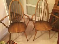 Ercol Carver Dining Chairs x 2 Windsor design in Golden Dawn