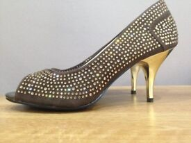 Brand new 2 toned diamante studded shoes with gold heels