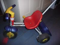 Tri-Ang extendable tricycle/bike with removable parent handle