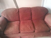 Red fabric 3 seater large setee + matching large single chair. Capok' filled cushions