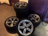 """BMW E34 E36 E46 17"""" M6 Replica Alloy wheels and skid tyres - low offset - ET20 8J all round"""