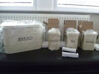 KitchenCraft Living Nostalgia Large Bread Bin & Tea, Coffee, Sugar Cannisters in Cream - Brand New