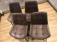 Brown Faux Leather Chairs x 4