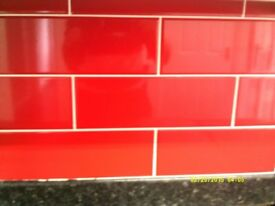 Red letterbox style ceramic wall tiles