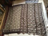 Indian Vintage Printed Satin Silk Brown Beige Saree Sari 520cm used £5