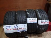 SET OF 4 MICHELIN 205 45 17s 7mm TREAD £70 PAIR £120 set of 4 SUPP & FITTED open sun till 4.40pm