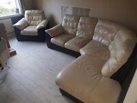 Cream leather corner sofa and single seater