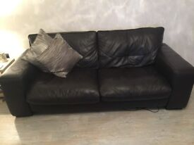 Dark brown leather 3 & 2 seaters with matching arm chair