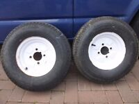 Trailer wheels tyres 10 inch, perfect condition, virtually unused