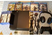 Ps4 Console turtle beach headphones and 14 great games.