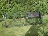 Heavy metal gates, one double set and matching front gate