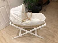 Moses basket and stand with new mattress