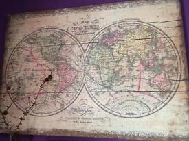 Canvas wall art old world map