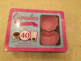 Cupcake silicone cases with 40 recipe cards