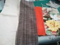 Fabric scraps browns, creams and orange