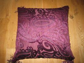 Purple velvet paisley pattern cushion £8